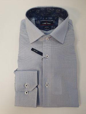 Line One kék kockás férfi ing