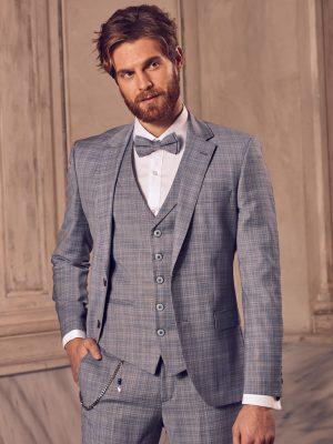 Slimfit kockás szürke vőlegény öltöny