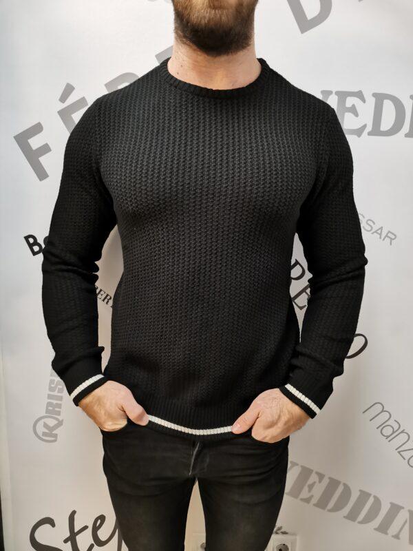 casual friday fekete kötött pulóver
